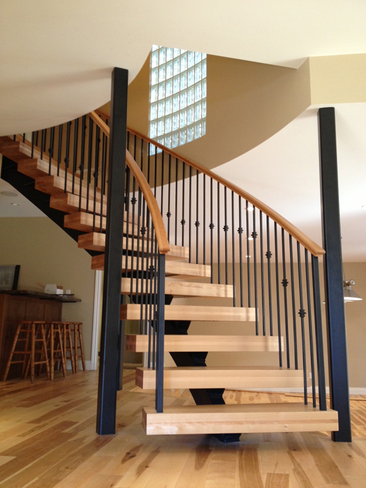 Curved Central Stringer Stair